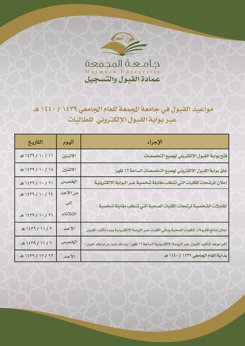 تقويم القبول للعام الجامعي 1440 1439هـ للطالبات جامعة المجمعة Majmaah University