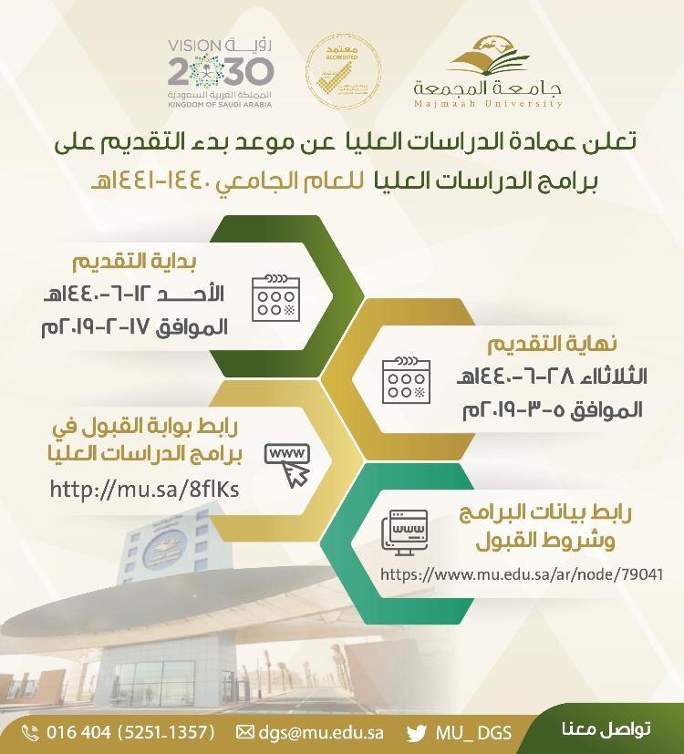 الاعلان عن بدء التقديم الالكتروني على برامج الدراسات العليا جامعة المجمعة Majmaah University